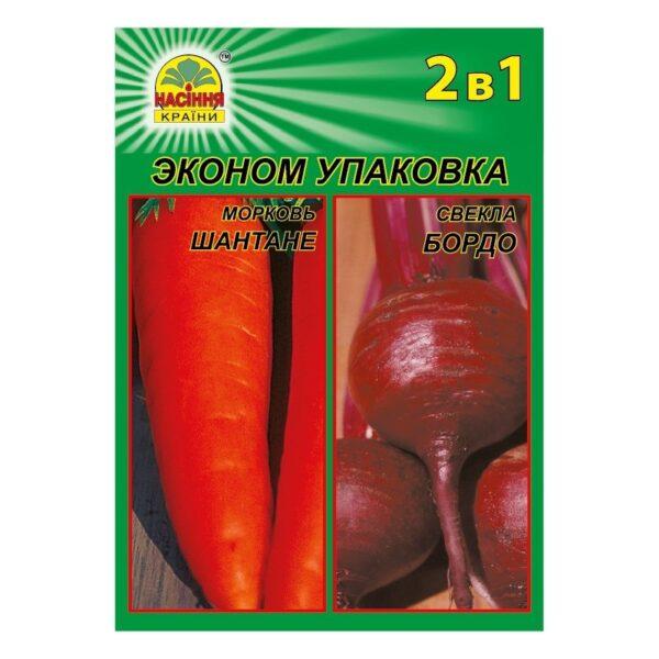 Насіння країни Морковь шантане 3г + свекла бордо 3г